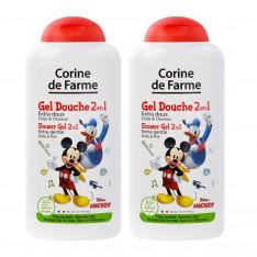 Lot de 2 Gels Douche Disney Mickey Extra Doux 2 en 1 Corps & Cheveux 250ml